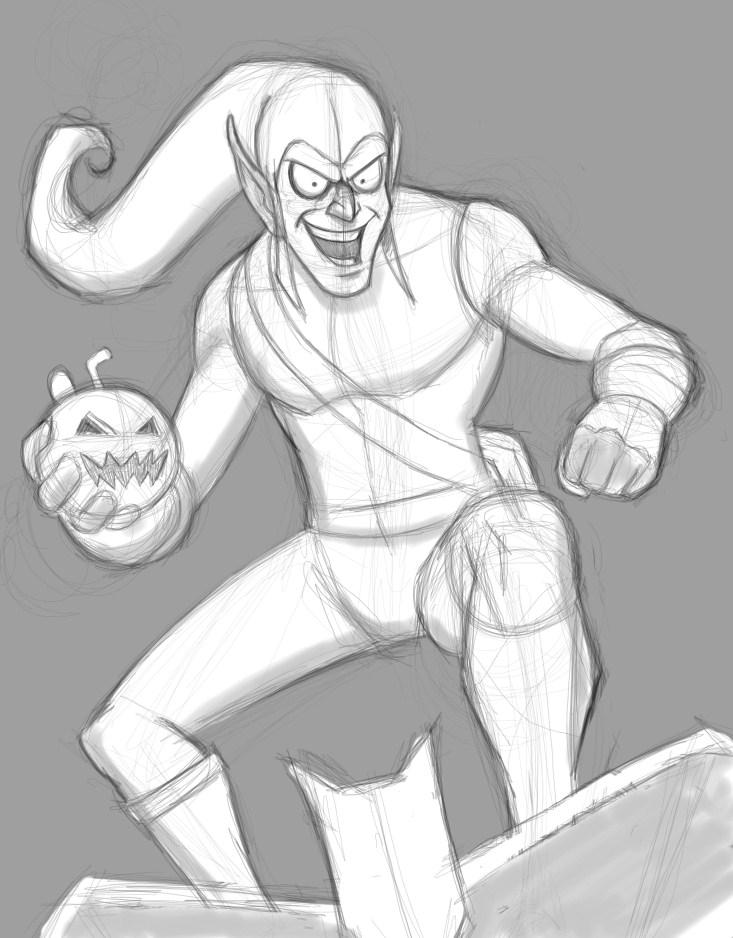 Green Goblin Sketch by EadgeArt