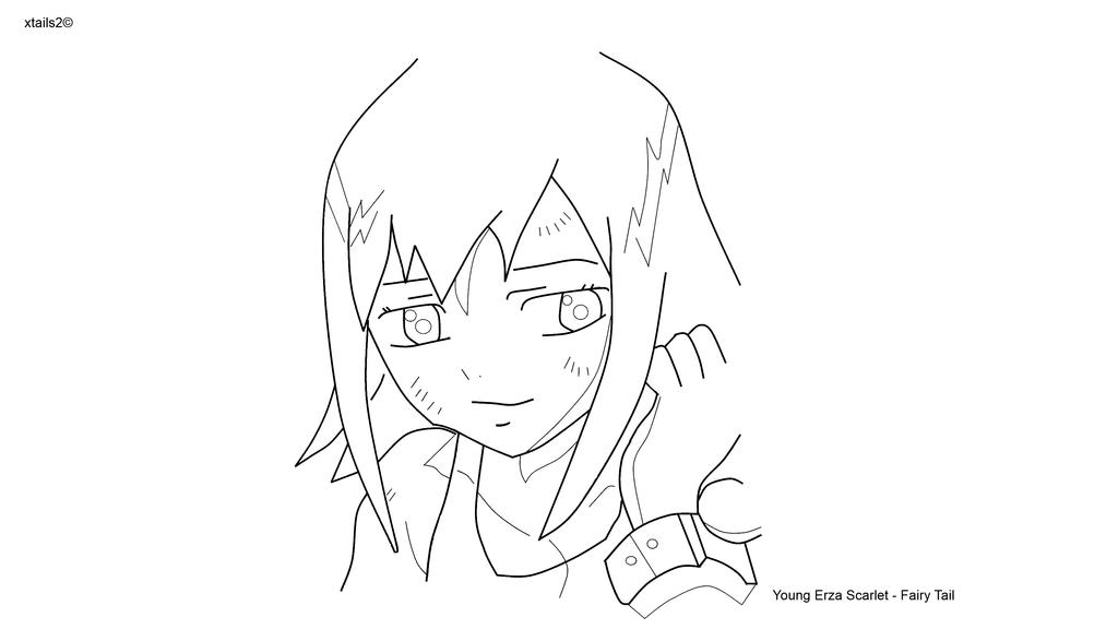 Fairy Tail Young Erza Scarlet Outline By Xtails2
