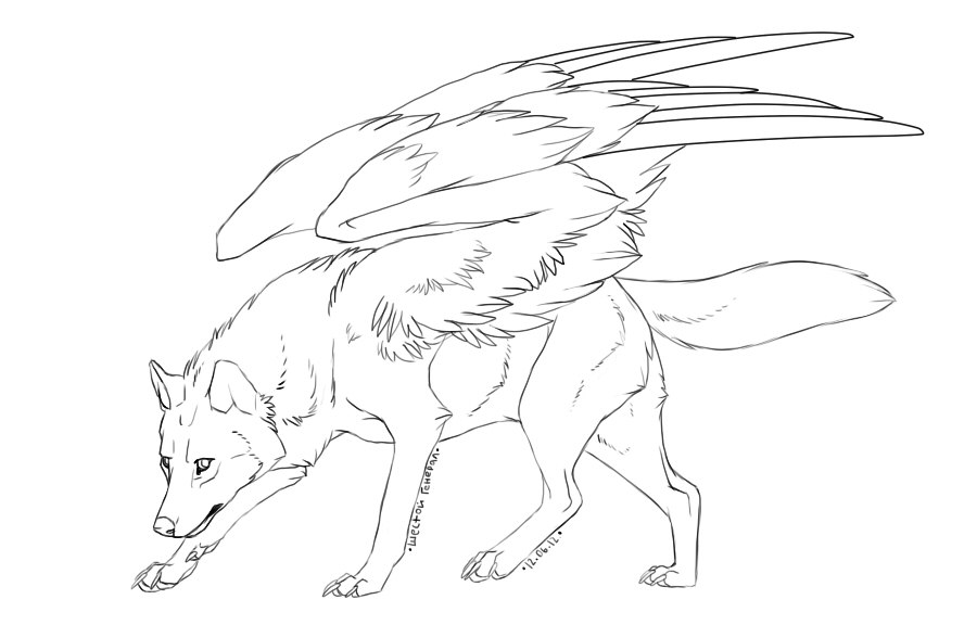 Free Winged Wolf Lineart By Doctor Necro On Deviantart