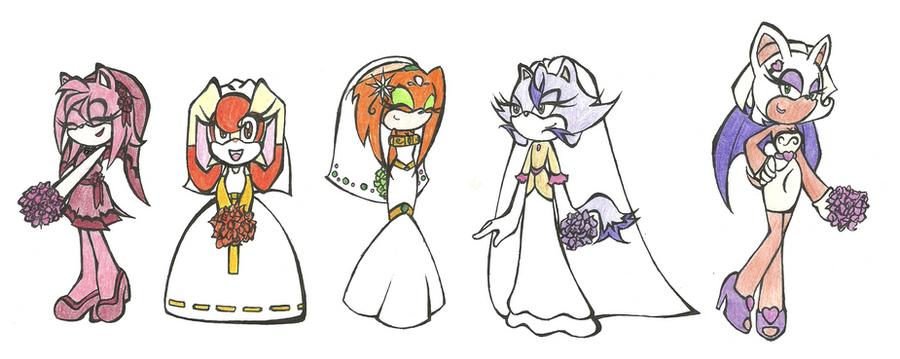 Sonic wedding gals by AmyEbony on DeviantArt  Sonic wedding g...