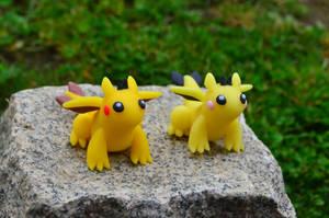 Pikachu-Dragon and Pichu-Dragon by CraftDragons