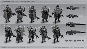 Postapocalyptic Sci-fi Hunter drafts by Flip-Fox