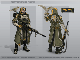 Postapocalyptic Sci-fi Hunter concept sketch by Flip-Fox
