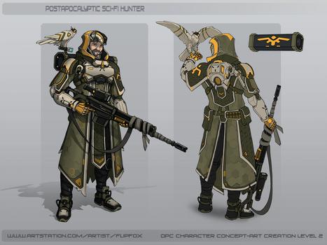 Postapocalyptic Sci-fi Hunter concept sketch