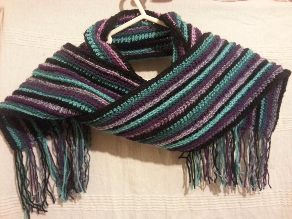 Crochet Scarf Pattern Vertical Stripes : Striped Crochet Scarf by FreneticFox on DeviantArt