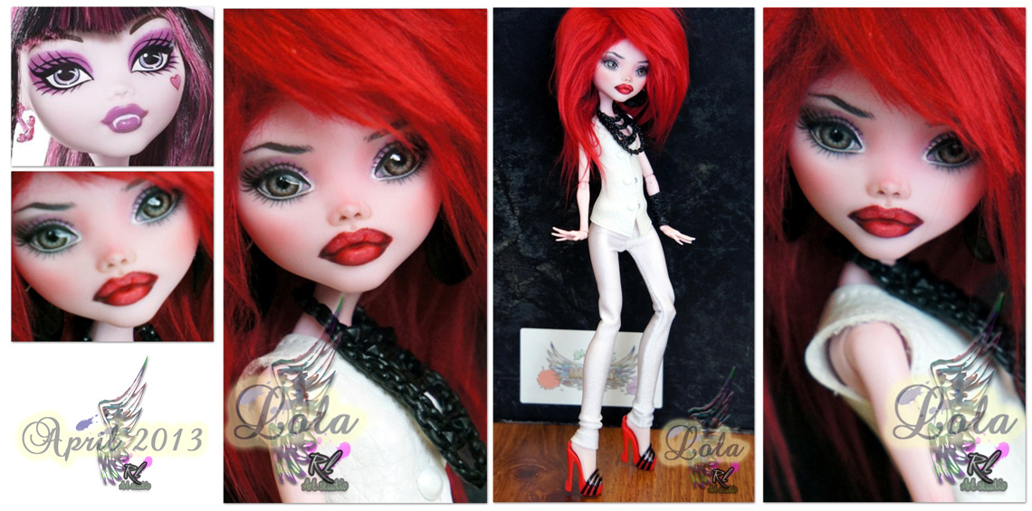 MH Draculaura repaint #6 ~Lola~ by RogueLively