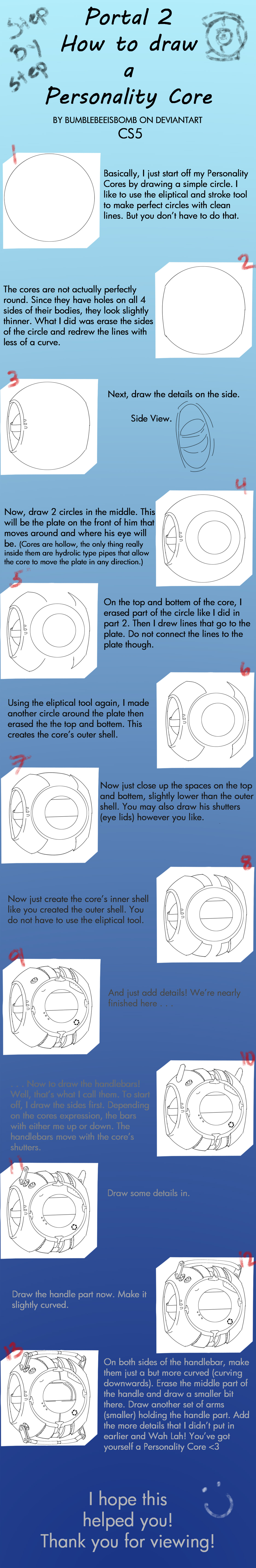 Portal 2 - Core Tutorial by DeviantDolphinART