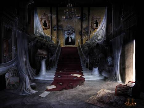 Night castle with phantoms