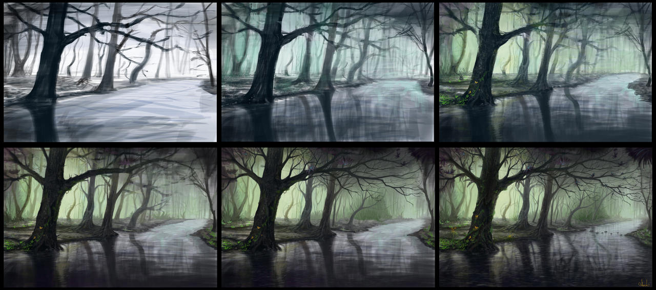 Fantasy forest process by Azot2016