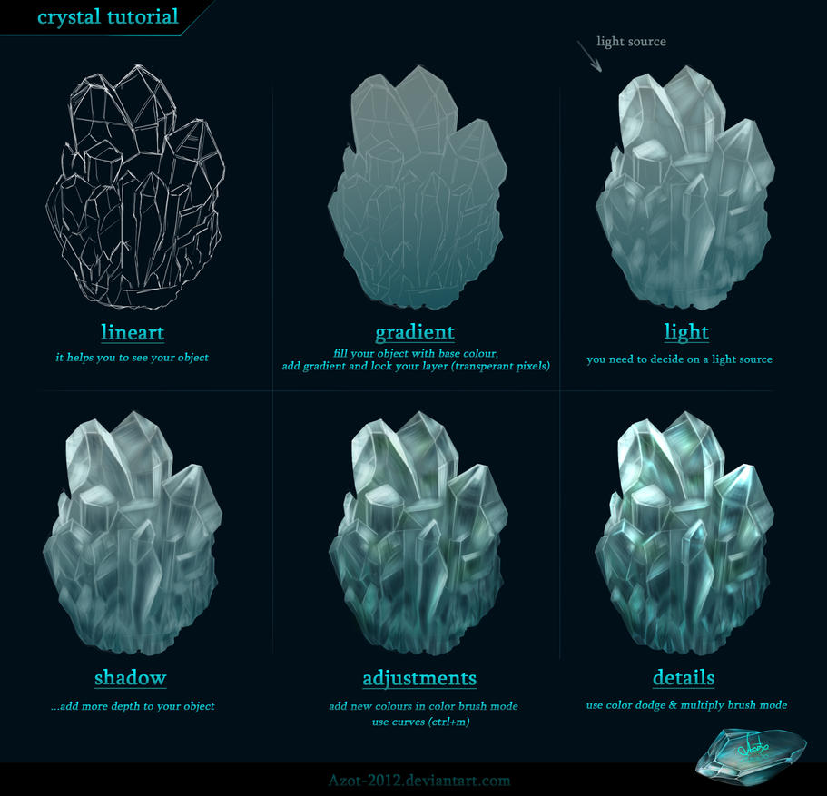 Crystal tutorial by azot2014 on deviantart for Paintings of crystals