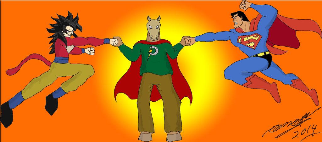 Ponyman Vs Goku y Superman by Goncen