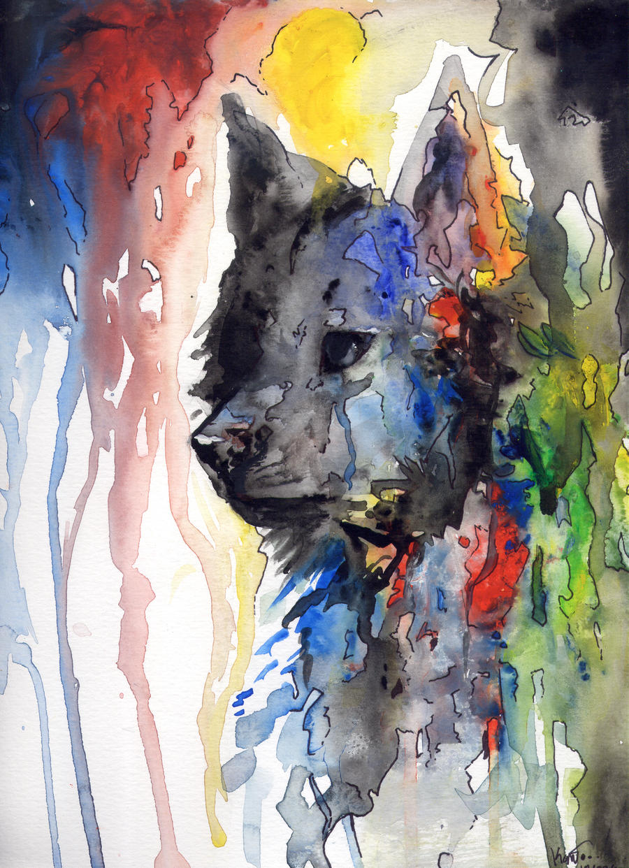 Watercolor Wolf by KatieKahn