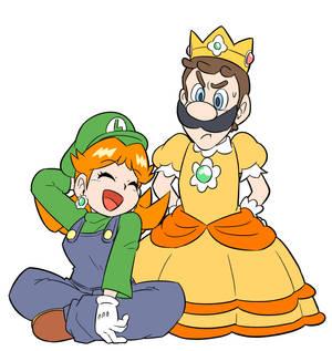 Luigi in Daisy's dress