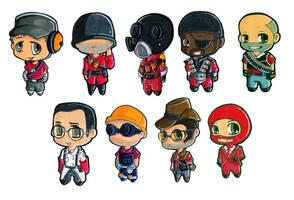 Team Fortress 2 chibi classes. by Silly-Da-Billie