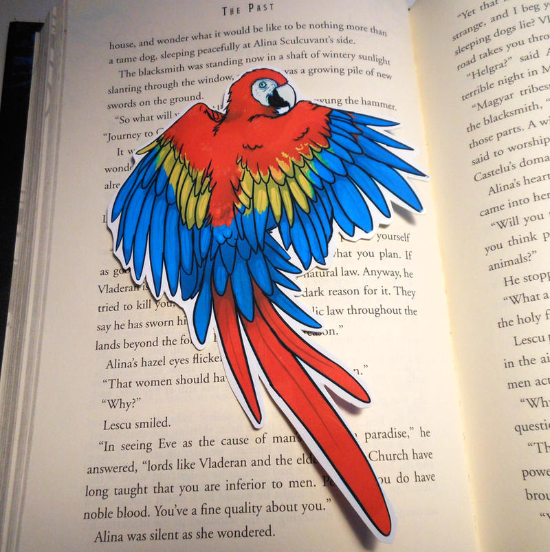 Scarlet Macaw Bookmark by Octobertiger