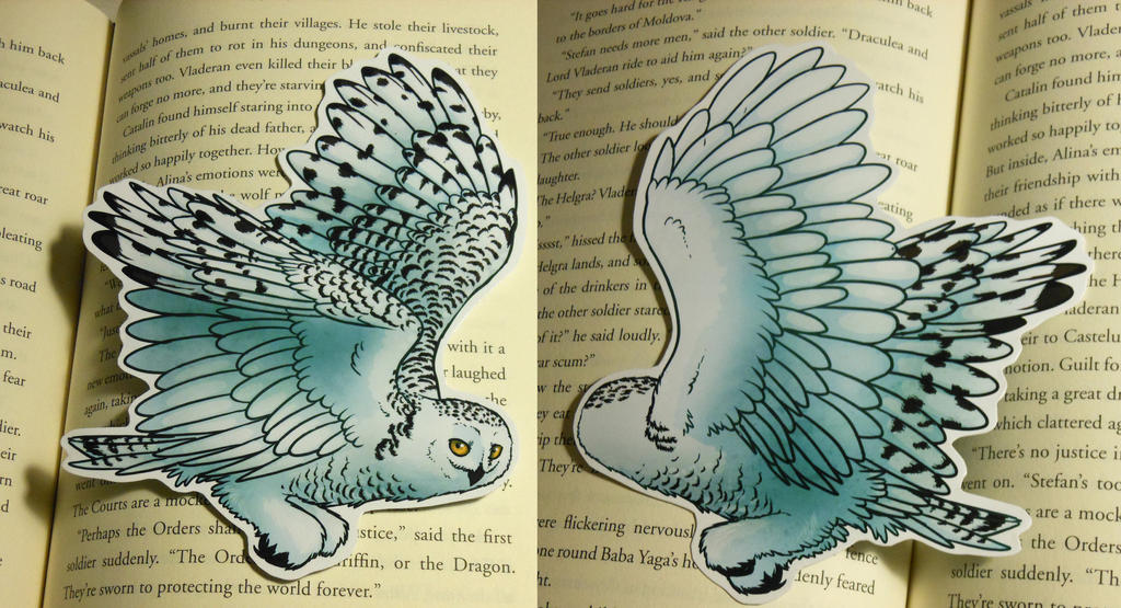 Snowy Owl Bookmark by Octobertiger
