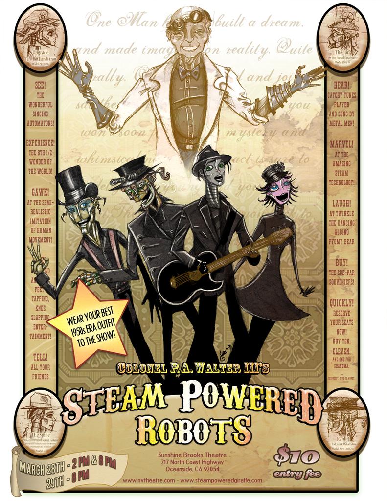 Steam Powered Robots Poster by BunnyBennett