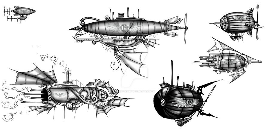 Steampunk Airships by BunnyBennett