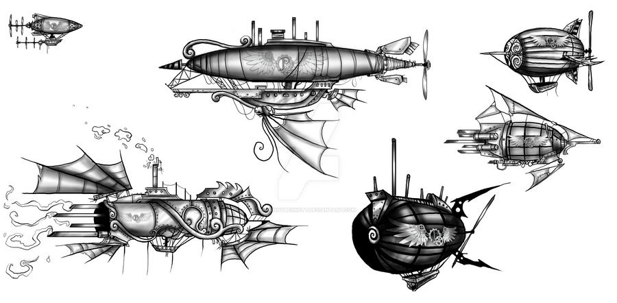 Steampunk Airships by BunnyBennett