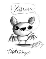 Doodle - Pudding Bat saying yaaas