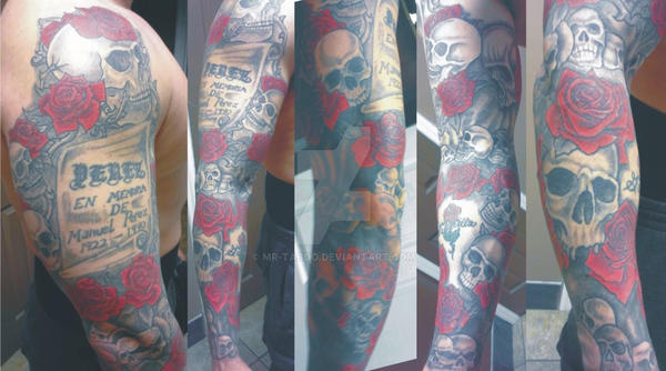 Skulls and Roses Sleeve by Mr-Taboo