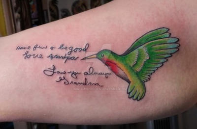 Humming bird with Grandparents writing. by Mr-Taboo