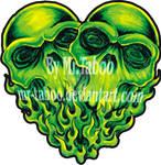 Green skull Heart
