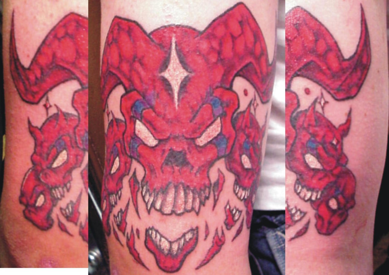 bollt demon skull tattoo by mr taboo on deviantart. Black Bedroom Furniture Sets. Home Design Ideas