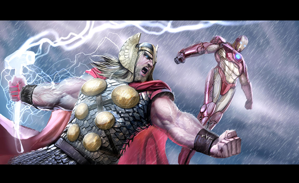 thor and ironman by nebezial