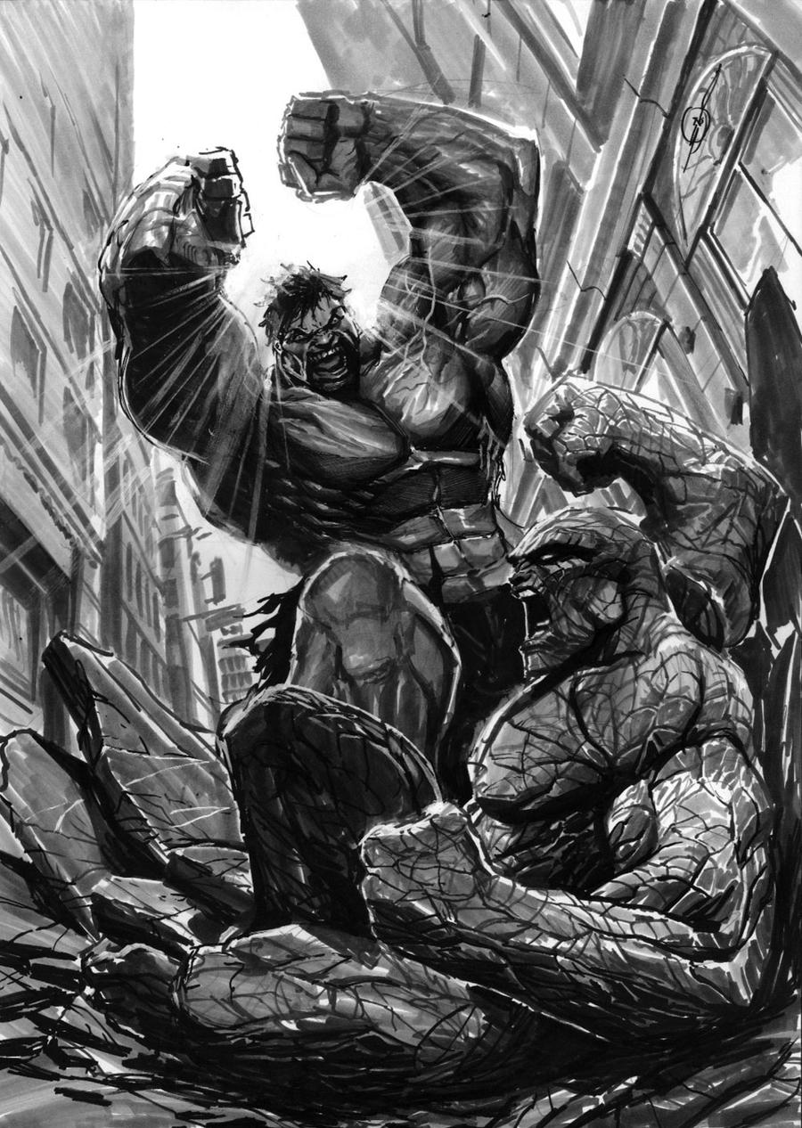 hulk vs thing by nebezial on DeviantArt