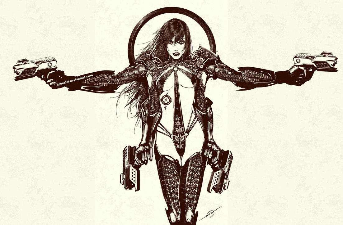 technomage...okay..so its a half naked  cyberchick by nebezial