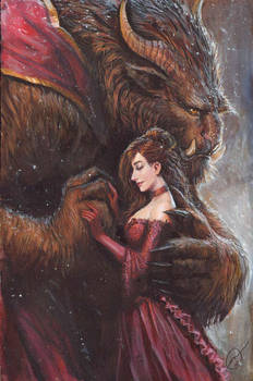 beauty and the beast acrylic commission