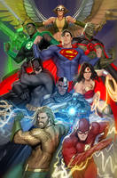 justice league variant cover by nebezial