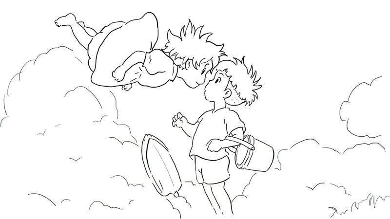 Kiki and ponyo coloring pages coloring pages for Ponyo coloring pages to print
