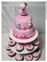 Hello Kitty Cake and Cupcakes by dragonflydoces