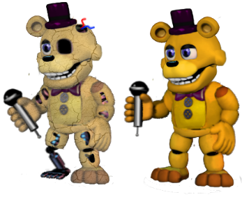 Funtilized Golden Freddy and Funtilized Fredbear by LankyH3nbear
