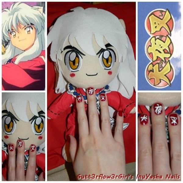 Inuyasha Quick Nail Design by Gutt3rflow3rGirl on DeviantArt