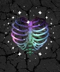 Galaxy Skeleton Heart