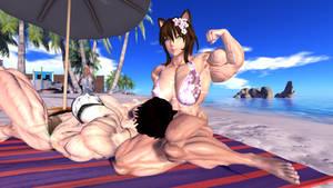 Oh? You want Sakura to flex for you  Nya? by Muscle-girl-Sakura