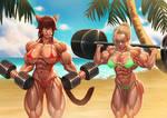 Sakura and Melodie workout by Rokupan
