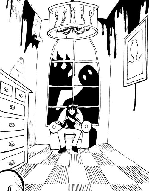 Scary Bedroom Inks By Rabbitrabbit