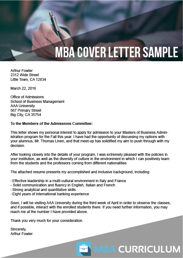 cover letter for mba applications
