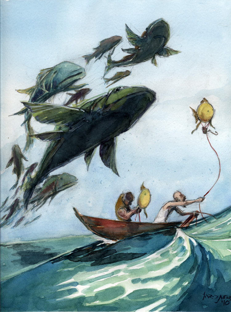 Catching the flying fish by whiteflyinglizard on deviantart for Flying fish drawing