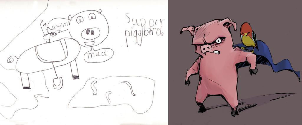 Super Piggy Bird by whiteflyinglizard