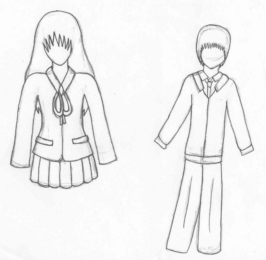 School Uniform Drawing Sketch Coloring Page