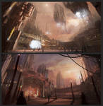 Science fiction city thumbnails