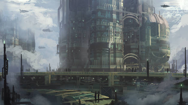 City in the clouds speedpaint