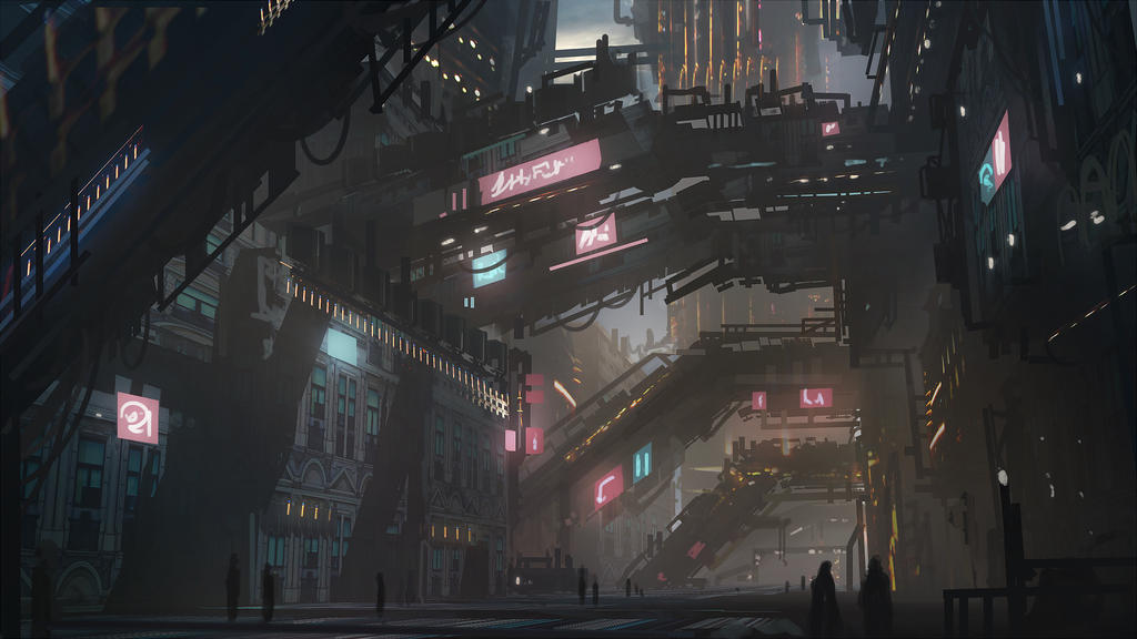 Cyberpunk city speedpaint by Tryingtofly