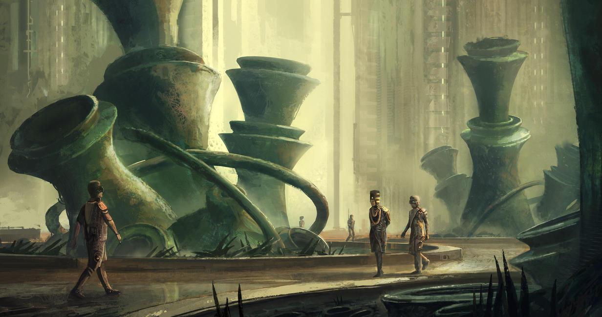 Retro sci fi botanical garden by Tryingtofly