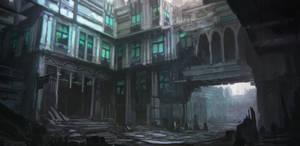 Gloomy city mood sketch